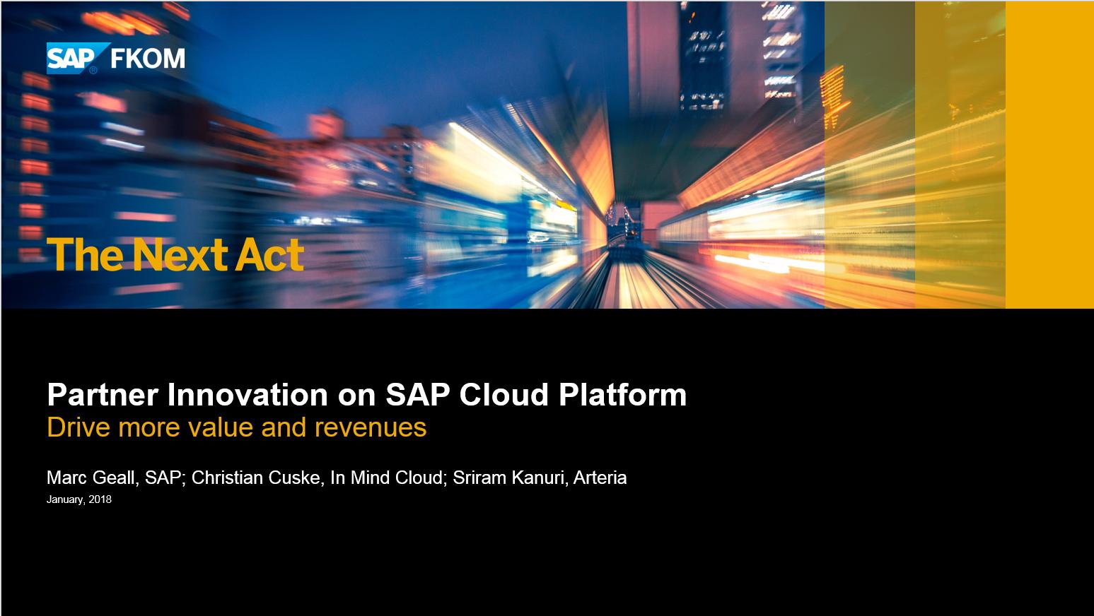 Partner Innovation on SAP Cloud Platform at SAP FKOM Sydney 2018   In Mind Cloud