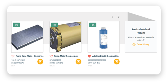 Example of In Mind Cloud recommended products in Online Portal