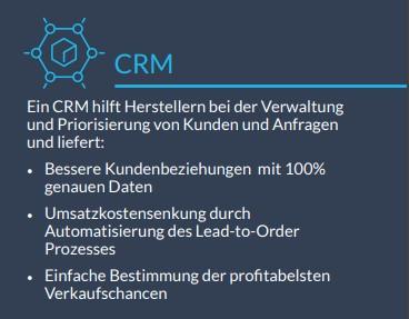 Infobox: CRM für Fertigungsunternehmen und die Industrie