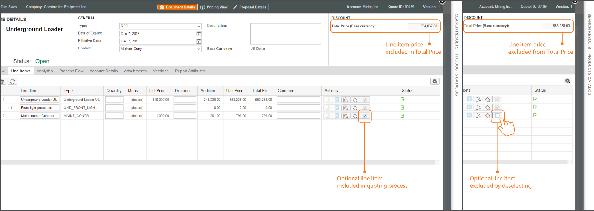 Cloud-CPQ-Express-Optional-line-items-screenshots