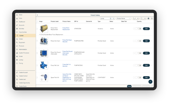 Example of In Mind Cloud Product Catalog in Online Portal