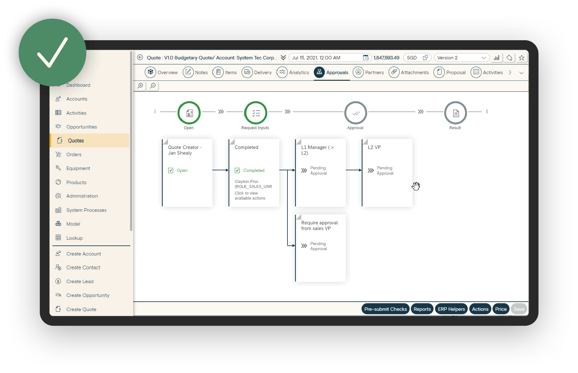 Example of In Mind Cloud collaboration through workflow routing and approval automation