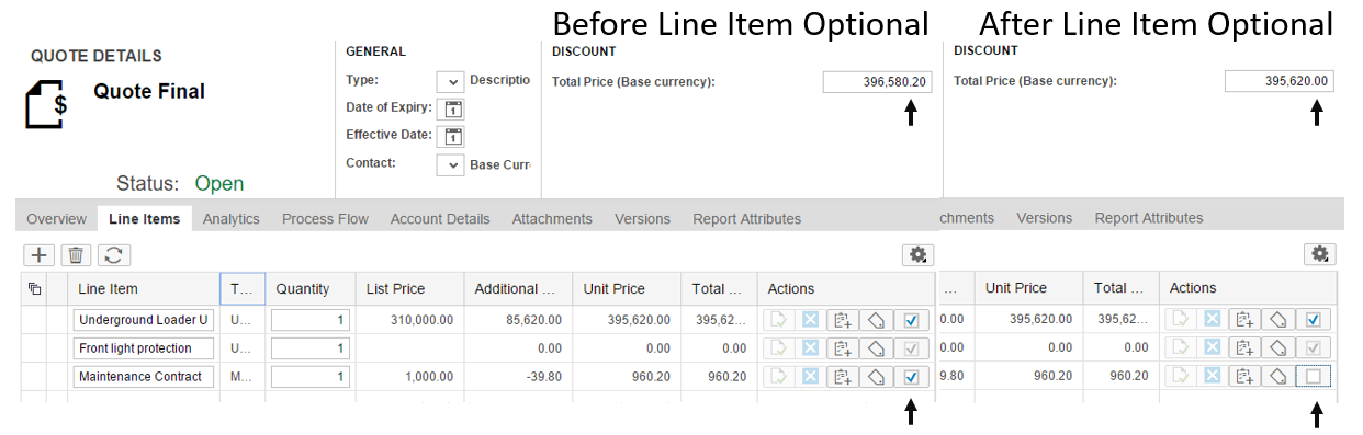 Cloud CPQ Express - Optional Line Item Feature